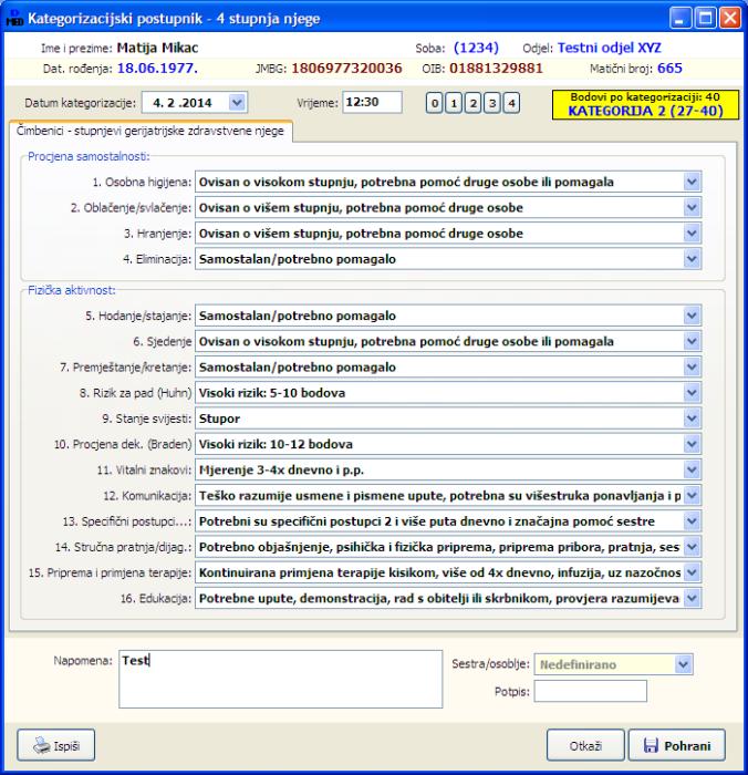 DOMEK MedPlus kategorizacijski postupnik